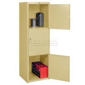 Pucel Heavy Duty Extra Wide Welded Steel Locker Triple Tier 24x24x74 3 Door Putty