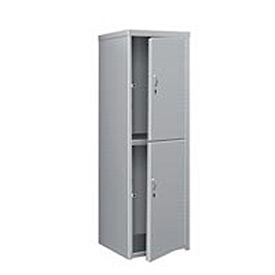 Pucel Heavy Duty Extra Wide Welded Steel Locker Double Tier 24x24x74 2 Door Gray
