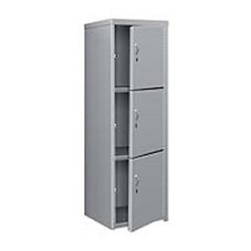 Pucel Heavy Duty Extra Wide Welded Steel Locker Triple Tier 24x24x74 3 Door Gray