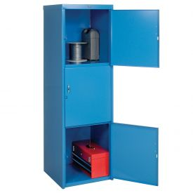 Pucel Heavy Duty Extra Wide Welded Steel Locker Triple Tier 24x24x74 3 Door Blue