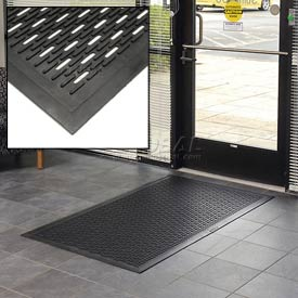 "Upfront Scraper Slotted Entrance Mat 5/16"" Thick Black 36x60"