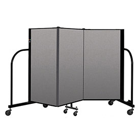 "Screenflex Portable Room Divider 3 Panel, 4'H x 5'9""L, Vinyl Color: Gray"