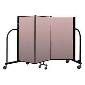 "Screenflex Portable Room Divider 3 Panel, 4'H x 5'9""L, Vinyl Color: Mauve"