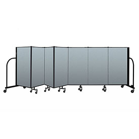 "Screenflex Portable Room Divider 7 Panel, 4'H x 13'1""L, Vinyl Color: Blue"