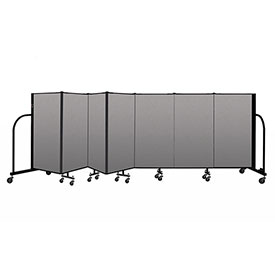 "Screenflex Portable Room Divider 7 Panel, 4'H x 13'1""L, Vinyl Color: Gray"
