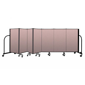 "Screenflex Portable Room Divider 7 Panel, 4'H x 13'1""L, Vinyl Color: Mauve"