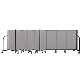 "Screenflex Portable Room Divider 9 Panel, 4'H x 16'9""L, Vinyl Color: Gray"