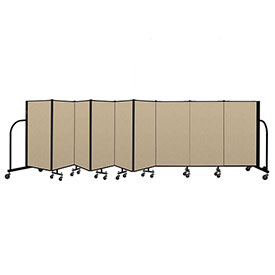 "Screenflex Portable Room Divider 9 Panel, 4'H x 16'9""L, Vinyl Color: Oatmeal"