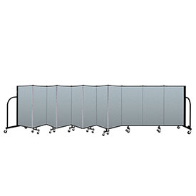"Screenflex Portable Room Divider 11 Panel, 4'H x 20'5""L, Vinyl Color: Blue"