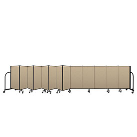 "Screenflex Portable Room Divider 13 Panel, 4'H x 24'1""L, Vinyl Color: Oatmeal"