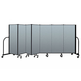 "Screenflex Portable Room Divider 7 Panel, 5'H x 13'1""L, Vinyl Color: Blue"