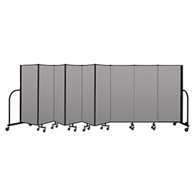 "Screenflex Portable Room Divider 9 Panel, 5'H x 16'9""L, Vinyl Color: Gray"