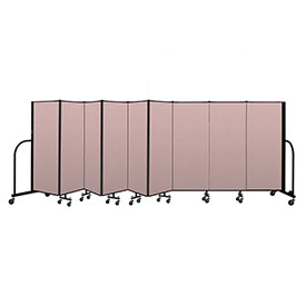 "Screenflex Portable Room Divider 9 Panel, 5'H x 16'9""L, Vinyl Color: Mauve"