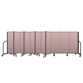 "Screenflex Portable Room Divider 11 Panel, 5'H x 20'5""L, Vinyl Color: Mauve"