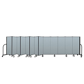 "Screenflex Portable Room Divider 13 Panel, 5'H x 24'1""L, Vinyl Color: Blue"