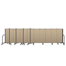 "Screenflex Portable Room Divider 13 Panel, 5'H x 24'1""L, Vinyl Color: Oatmeal"