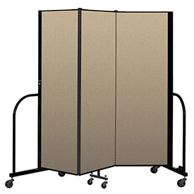 "Screenflex Portable Room Divider 3 Panel, 6'H x 5'9""L, Vinyl Color: Oatmeal"