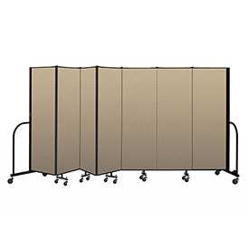 "Screenflex Portable Room Divider 7 Panel, 6'H x 13'1""L, Vinyl Color: Oatmeal"