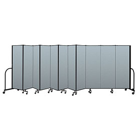 "Screenflex Portable Room Divider 11 Panel, 6'H x 20'5""L, Vinyl Color: Blue"