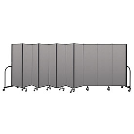 "Screenflex Portable Room Divider 11 Panel, 6'H x 20'5""L, Vinyl Color: Gray"