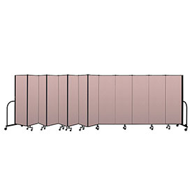 "Screenflex Portable Room Divider 13 Panel, 6'H x 24'1""L, Vinyl Color: Mauve"