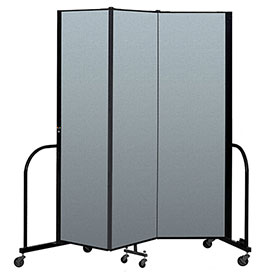 "Screenflex Portable Room Divider 3 Panel, 6'8""H x 5'9""L, Vinyl Color: Blue"
