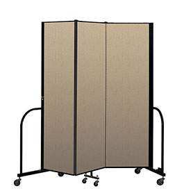 "Screenflex Portable Room Divider 3 Panel, 6'8""H x 5'9""L, Vinyl Color: Oatmeal"