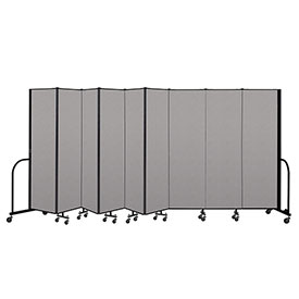 "Screenflex Portable Room Divider 9 Panel, 6'8""H x 16'9""L, Vinyl Color: Gray"