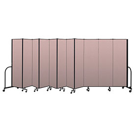 "Screenflex Portable Room Divider 11 Panel, 6'8""H x 20'5""L, Vinyl Color: Mauve"