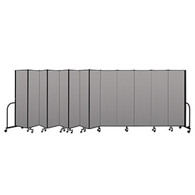 "Screenflex Portable Room Divider 13 Panel, 6'8""H x 24'1""L, Vinyl Color: Gray"