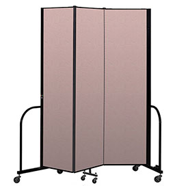 "Screenflex Portable Room Divider 3 Panel, 7'4""H x 5'9""L, Vinyl Color: Mauve"