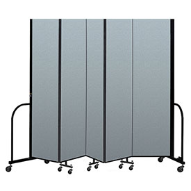 "Screenflex Portable Room Divider 5 Panel, 7'4""H x 9'5""L, Vinyl Color: Blue"