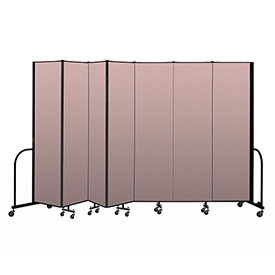 "Screenflex Portable Room Divider 7 Panel, 7'4""H x 13'1""L, Vinyl Color: Mauve"