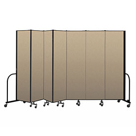 "Screenflex Portable Room Divider 7 Panel, 7'4""H x 13'1""L, Vinyl Color: Oatmeal"