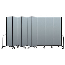"Screenflex Portable Room Divider 9 Panel, 7'4""H x 16'9""L, Vinyl Color: Blue"
