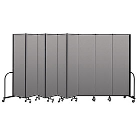 "Screenflex Portable Room Divider 9 Panel, 7'4""H x 16'9""L, Vinyl Color: Gray"