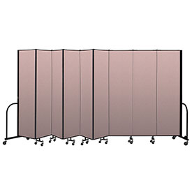 "Screenflex Portable Room Divider 9 Panel, 7'4""H x 16'9""L, Vinyl Color: Mauve"