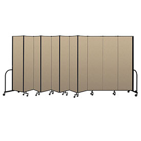 "Screenflex Portable Room Divider 11 Panel, 7'4""H x 20'5""L, Vinyl Color: Oatmeal"