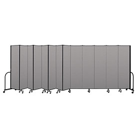 "Screenflex Portable Room Divider 13 Panel, 7'4""H x 24'1""L, Vinyl Color: Gray"