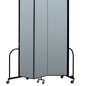 "Screenflex Portable Room Divider 3 Panel, 8'H x 5'9""L, Vinyl Color: Blue"