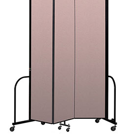 "Screenflex Portable Room Divider 3 Panel, 8'H x 5'9""L, Vinyl Color: Mauve"
