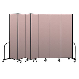 "Screenflex Portable Room Divider 7 Panel, 8'H x 13'1""L, Vinyl Color: Mauve"