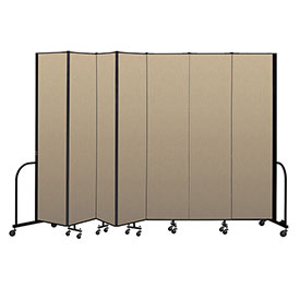 "Screenflex Portable Room Divider 7 Panel, 8'H x 13'1""L, Vinyl Color: Oatmeal"
