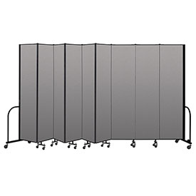 "Screenflex Portable Room Divider 9 Panel, 8'H x 16'9""L, Vinyl Color: Gray"