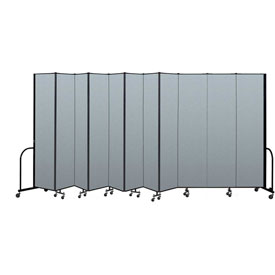 "Screenflex Portable Room Divider 11 Panel, 8'H x 20'5""L, Vinyl Color: Blue"