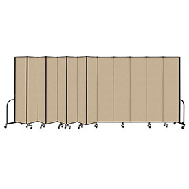 "Screenflex Portable Room Divider 13 Panel, 8'H x 24'1""L, Vinyl Color: Oatmeal"