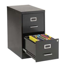 2 Drawer Vertical File-Black