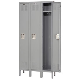 Hallowell U3818-1HG Premium Locker Single Tier 18x21x72 3 Door Ready To Assemble Gray