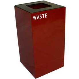 Steel Recycling Container with Waste Disposal Opening - 28 Gallon Capacity Red