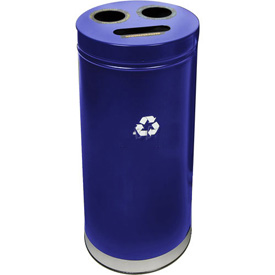 "3-In-1 Steel Recycling Container Blue 15""Dia X 32""H"